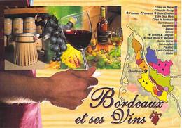 ** Lot De 2 Cartes  ** AGRICULTURE Vignes Vins Vignobles - Carte Géographique Vins De BORDEAUX - CPM GF Vine Wine - Vines