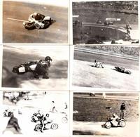 6 Photos Originales Sport Mécanique Motocycliste, Chutes, Moto & Side-Car Sur Le Circuit Des Essarts à Rouen 31.03.1974 - Ciclismo
