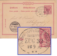 DR - Frankfurt-Appenweier-Strassburg Bahnpost Zug 32 10 Pfg. Ganzsache 1890 - Lettere
