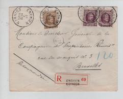 REF2564/ TP 195(2)-203 Houyoux S/L.Recommandée C.Enghien 27/10/1925 > BXL - Brieven En Documenten