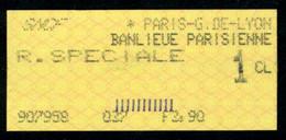 SNCF - RER - R. SPECIALE 1ère Classe - PARIS-GARE De LYON - BANLIEUE PARISIENNE - DAB N° 037 - Europe
