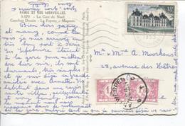 REF2567/ CP Paris Gare Du Nord 17/10/55 > Anvers Taxée 3,20 Frs TTx 57(2) C.Antwerpen 18/10/55 Trace Taxation Manquante - Brieven
