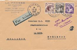 Tunesie - 1955 - 35+ Stamps Mixed Franking On Cover Par Avion From Bizerte To Den Haag / Nederland - Briefe U. Dokumente