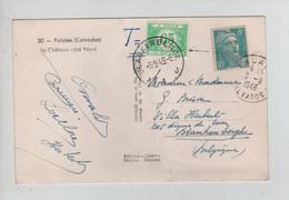 REF2568/ CP Falaise(Calvados) Pli 1949 T Manuscrit > Blankenberghe Taxée 0.65 Fr TTx 56 C.Blankenberg 8/9/49 - Brieven