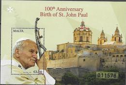 MALTA, 2020, MNH,CHRISTIANITY, POPES, POPE JOHN PAUL, S/SHEET - Papes