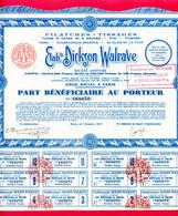 TITRES (Ref : F&T013) VIEUX PAPIERS ACTIONS & TITRES FILATURES TISSAGES ETS DICKSON WALRAVE COUDEKERQUE-BRANCHE - Textil
