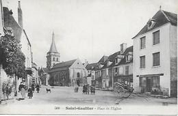 36 - INDRE - SAINT GAULTIER - PLACE DE L'EGLISE - BELLE ANIMATION - EDIT. TH. G. TRES BON ETAT - Autres Communes