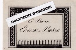CARTE DE VISITE - LE BARON ERNESTE DE BULOW - Tarjetas De Visita