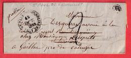 CAD TYPE 14 ST PAUL DE FENOUILLET PYRENEES ORIENTALES OR TOYSSAC ? 1849 ARRIVE CURSIVE 77 CASTELNAU DE MONTMIRAIL TARN - 1801-1848: Precursori XIX