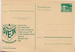 DDR P84-49-83 C55 Postkarte Zudruck ESPERANTO BUCH SCHWEJK Leipzig 1983 - Postales Privados - Nuevos