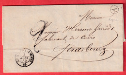CAD TYPE 15 STE MARIE AUX MINES BOITE RURALE A LIEPVRE 1850 STRASBOURG - 1849-1876: Klassik