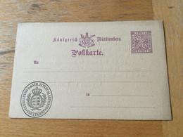 KO1 Württemberg Ganzsache Stationery Entier Postal DP 26 Mit Zudruck Stuttgart - Wurttemberg