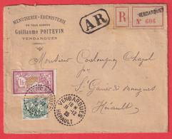 N°111 121 CACHET PERLE VENDARGUES HERAULT RECOMMANDE AR 1925 ST GENIES DES MOURGUES MENUISERIE EBENISTERIE - 1877-1920: Semi-Moderne