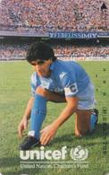 TC JAPON / 110-011 - FOOTBALL - DIEGO MARADONA / ARGENTINA Argentine ** UNICEF ** - SOCCER JAPAN Phonecard - 1138 - Sport