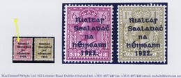 """Ireland 1922 Dollard Rialtas Black Ovpt On 6d 1s, Each With Variety """"R Over Se"""" Fresh Mint Hinged. - Unused Stamps"""