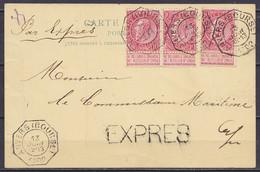 """EP CP """"Red Star Line"""" (voir Dos) En Exprès Affr. 3x N°58 Càd Octogon. ANVERS (BOURSE) /13 JUIN 1902 Pour E/V - Griffe """"E - 1893-1900 Barbas Cortas"""