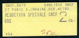 SNCF-RATP - REDUCTION SPECIALE SNCF - 2ème Classe - BANLIEUE SNCF ET PARIS S.URBAINE RER - METRO - Europe