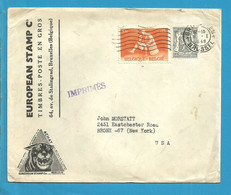 527+701 (surtaxe) Op IMPRIME Met Stempel BRUXELLES Naar U.S.A. - Briefe U. Dokumente