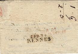 1807- Lettre De Landerneau   Pour Dinan Puis Réexp. -au Dos, DEB. 21 / DINAN COTES DU NORD Rouge + DEB. 34 / RENNES - 1801-1848: Vorläufer XIX