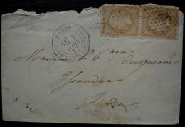 Paris 1867 Rue De La Sainte Chapelle, Oblitération Etoile 32 Sur Une Paire Du N°21 - 1849-1876: Classic Period