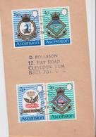 Île De L'Ascension Island Lettre Timbre Blason Oberon Milford HMS Phoenix Pelican Heraldic Stamp Air Mail Cover 1972 - Ascensión
