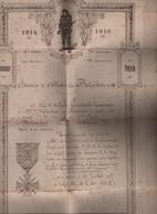 Militaria : Guerre De 1914 - 1916    Citation à L'ordre Du Bataillon  188 - Documentos Históricos