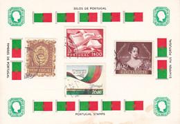 B01-234 2 Cartes Souvenir De Timbres Du Portugal 30-09-1985 - Collections