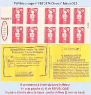 FRANCE - Carnet Numéro 9368X-3 - TVP Briat Rouge - YT 2874 C6 / Maury 512 - Uso Corrente