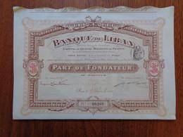 LIBAN - BANQUE DU LIBAN - PART DE FONDATEUR - PARIS 1913 - Zonder Classificatie
