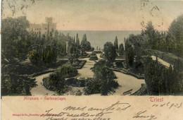 Triest Miramare Gartenanlagen Colorisée Recto Verso Beau Timbre 10 Heller - Trieste