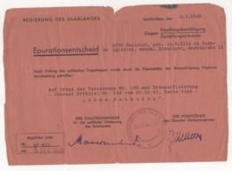 ° WW2 ° DENAZIFICATION DE LA SARRE 1949 ° REGIERUNG DES SAARLANDES - SAARBRÜCKEN 1949 ° EPURATIONSENTSCHEID ... ° - Historical Documents