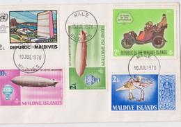 Maldives Enveloppe Philatélique Affranchissement Timbre Zeppelin Oiseau Onu Bird Automobile Stamp Male Cancellation 1970 - Maldivas (1965-...)