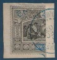 France Colonies Obock Fragment N°54a Coupé Moitié Gauche Oblitéré Bleue Djibouti (cote Des Somalis) Signé - Oblitérés