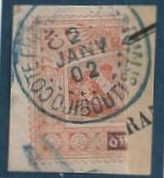 France Colonies Obock Fragment N°53a Coupé Moitié Gauche Oblitéré Bleue Djibouti (cote Des Somalis) - Oblitérés