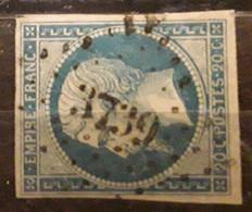 Empire No 14 Obl Pc 3739 Bureau De TLEMCEN,  Oran Algérie,  Indice 9, Belle Frappe TB - 1853-1860 Napoléon III.