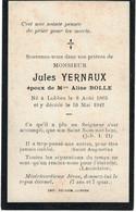 Lobbes. Jules Yernaux époux D'Aline Bolle Décédé En 1942 - Imágenes Religiosas