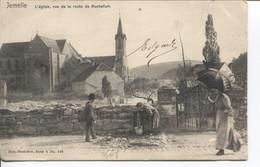 REF2583/ CP-PC Jemelle L'Eglise , Vue De La Route De Rochefort Animée , Fontaine (défaut Noirci) - Rochefort