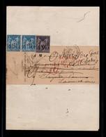 Retour à L'envoyeur Rouge Sur Recommandé De Greffe Avec Affranchissement Type Sage Bicolore - 1876-1898 Sage (Type II)