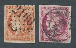 """DX-107: FRANCE: Lot Avec """"BORDEAUX"""" N°48 Obl (replaqué)-49 Obl - 1870 Bordeaux Printing"""