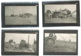 4 Photos Afrique, Scènes Agricoles, Récolte , Machine à Vapeur, Batteuse, Tracteur & Charrue - Mestieri