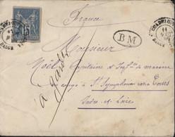 YT 41 Sage ND Colonies Générales Bleu 15ct CAD Guadeloupe Basse Terre 11 8 1885 Corr D'armées Lig A PAQ FR N°1 + BM - Covers & Documents