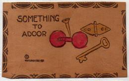 Illustration Sur Carte En Cuir - Something To Adoor - Haltère - Clou -nPapillon - Clef   (120233) - Other