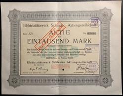 AKTIE Nr.63680 Elektrizitätswerk Schlesien Aktiengesellschaft über 1000 Mark / 100 GM Breslau, Im Februar 1922 - D - F