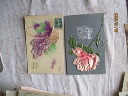 Lot De 5 Carte Feutrine Tissu Fleurs - Autres