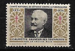 "Vignette "" Contre La Tuberculose"" 1934 Calmette Vaccin BCG  Neuf  * *   B/ TB  Soldé  ! ! !  Le Moins Cher Du Site ! ! ! - Tegen Tuberculose"