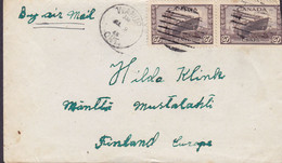 Canada WANUPO Ontario 1946 Cover Lettre MANTTÄ (Arr. Cds.) Suomi Finland 2x 20c. Korvette 'Collingwood' Ship Schiff - Briefe U. Dokumente