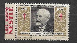 """Vignette Pub Nestlé Lait Sucré   """"contre La Tuberculose""""1934 Calmette Vaccin BCG Neuf * * B/ TB Le Moins Cher Du Site ! - Tegen Tuberculose"""