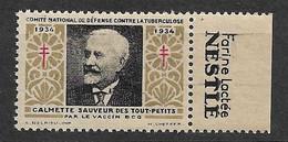 """Vignette Pub Nestlé Farine Lactée """"contre La Tuberculose""""1934 Calmette Vaccin BCG Neuf * * B/ TB Le Moins Cher Du Site ! - Croix Rouge"""