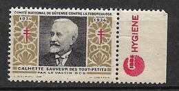 "France Vignette Pub Gibbs Hygiène ""contre La Tuberculose""1934 Calmette Vaccin BCG Neuf * * B/ TB Le Moins Cher Du Site ! - Tegen Tuberculose"
