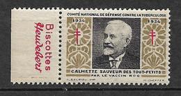 "Vignette Pub Heudebert Biscottes  ""contre La Tuberculose""1934 Calmette Vaccin BCG Neuf * * B/ TB Le Moins Cher Du Site ! - Tegen Tuberculose"